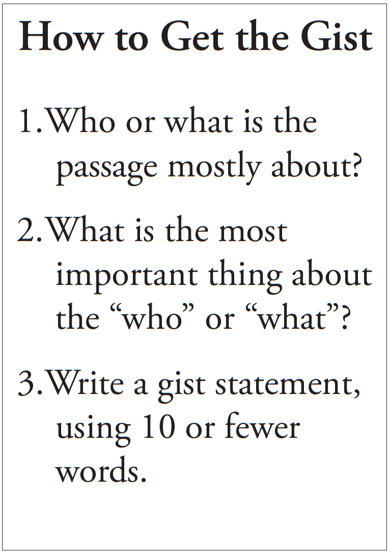 Student cue card for get the gist strategy (during reading activity)